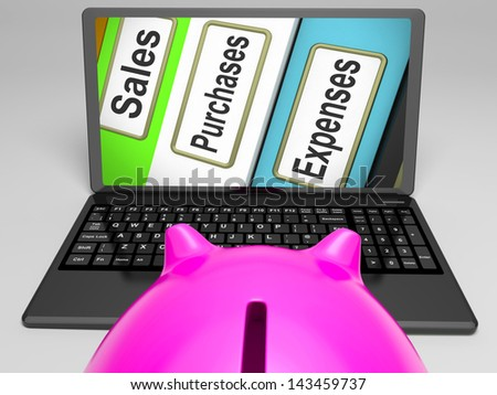 Sales Purchases Expenses Files On Laptop Shows Commerce And Transactions
