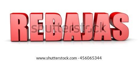 Sales Red 3D Text Spanish Language Illustration on White Background - stock photo