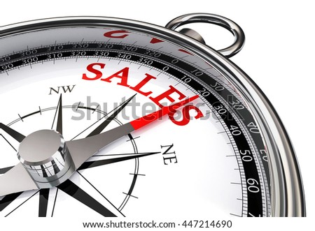 sales red word on motivation compass, isolated on white background