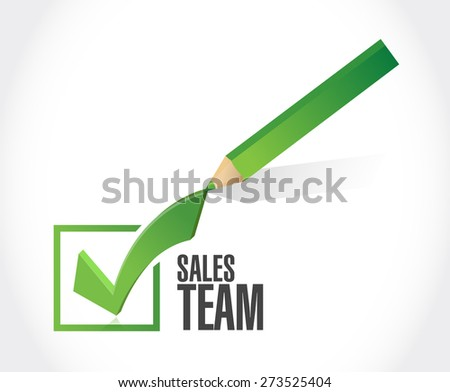 sales team check mark sign concept illustration design over white - stock photo