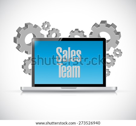 sales team tech computer sign concept illustration design over white - stock photo