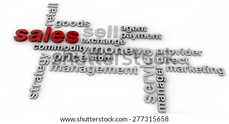 Sales Wordcloud over white background - stock photo