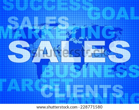 Sales Words Showing Selling Biz And Promotion
