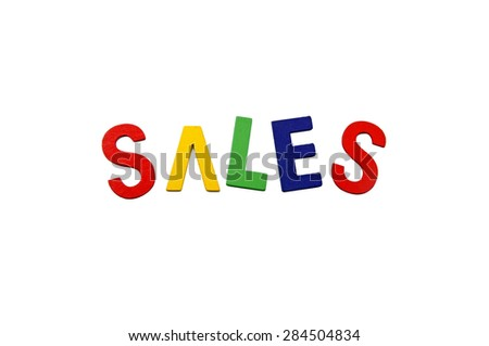 Sales Words with a white background. Image has grain or blurry or ...