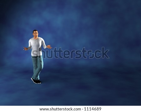 salesman selling on Chromakey bluescreen set - stock photo