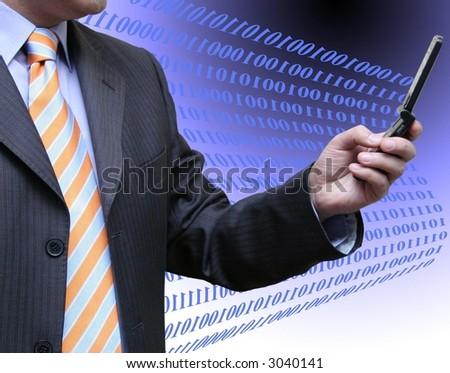 Salesman with code - stock photo