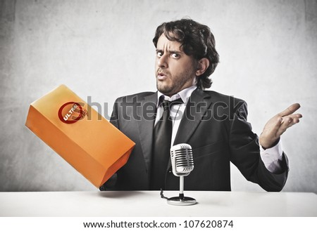 Salesperson advertising a product - stock photo