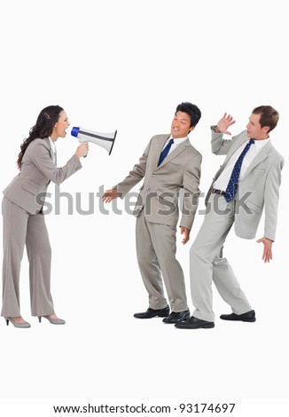 Saleswoman with megaphone yelling at colleagues against a white background - stock photo