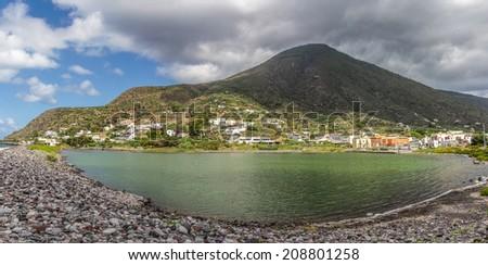 Salina lake, Aeolian Island - Sicily, Italy - stock photo