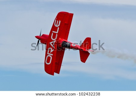 SALINAS, CA - SEPT 25: Sean D. Tucker demonstrates precision of flying and the highest level of pilot skills during the California International Airshow, on September 25, 2011, Salinas, CA. - stock photo