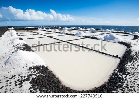 Salinas de Fuencaliente, salt evaporation ponds at La Palma, Canary Islands (Spain) - stock photo