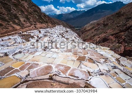 Salinas de Maras, man-made salt mines near Cusco, Peru - stock photo