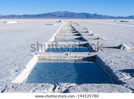 Salinas Grandes, Andes, Argentina is a salt desert in the Jujuy Province. More significantly, Bolivas Salar de Uyuni is also located in the same region - stock photo