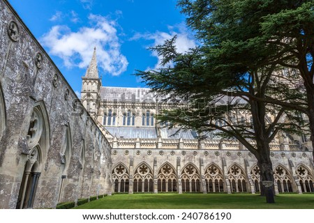 Salisbury Cathedral from the cloister, Wiltshire, England, UK  - stock photo