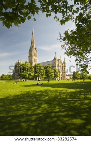 Salisbury cathedral on a beautiful day