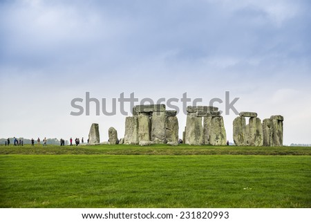 Salisbury, UK - October 30: Tourists visiting the Stonehenge monument near Salisbury, UK on October 30, 2014. Stonehenge is a prehistoric monument located in England, UK.