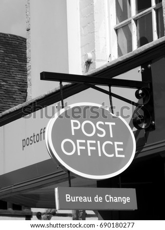 Salisbury Wiltshire England July   Monochrome Post Office Sign Over