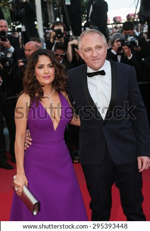 Salma Hayek and Francois Henri Pinault attend the 'Carol' premiere during the 68th annual Cannes Film Festival on May 17, 2015 in Cannes, France. - stock photo