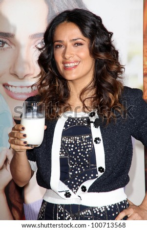 """Salma Hayek at """"The Breakfast Project"""" Launch and unveiling of the new  """"Got Milk?"""" campaign, L'Ermitage, Beverly Hills, CA 02-24-12 - stock photo"""
