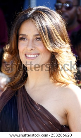 """Salma Hayek at the Los Angeles Premiere of """"Puss In Boots"""" held at the Regency Village Theater in Westwood, California, United States on October 23, 2011.  - stock photo"""