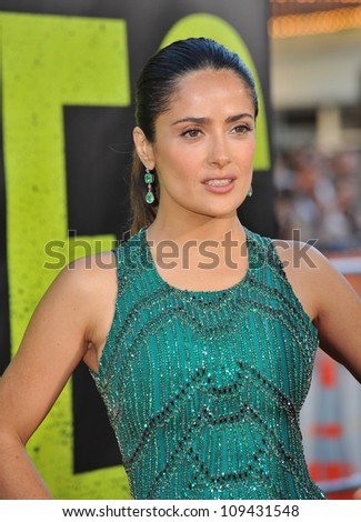 """Salma Hayek at the world premiere of her movie """"Savages"""" at Man Village Theatre, Westwood. June 26, 2012  Los Angeles, CA Picture: Paul Smith / Featureflash - stock photo"""