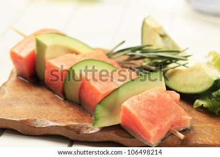Salmon and avocado skewer