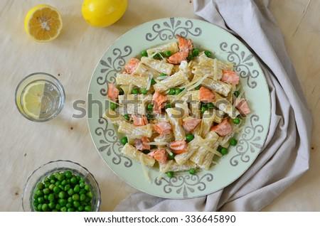 Salmon and Peas Pasta - stock photo