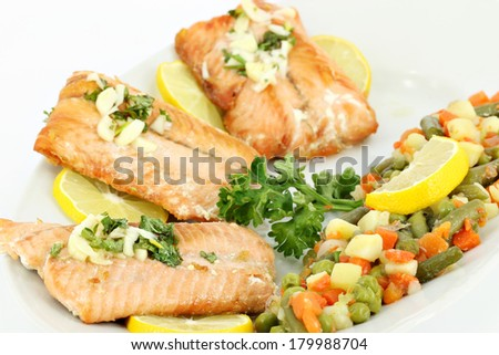 salmon and vegetables healthy food