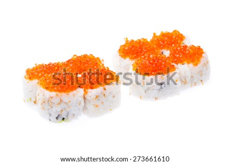 Salmon, avocado, cucumber, cream cheese and red caviar rolls isolated on white background