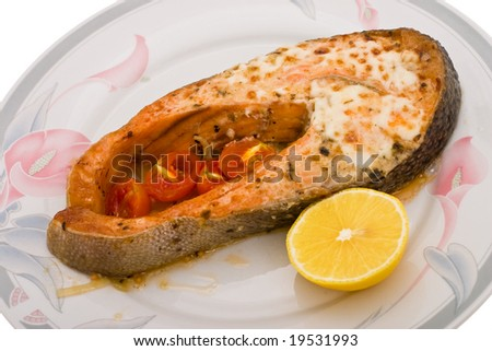 salmon baked in mayonnaise with tomato sherry