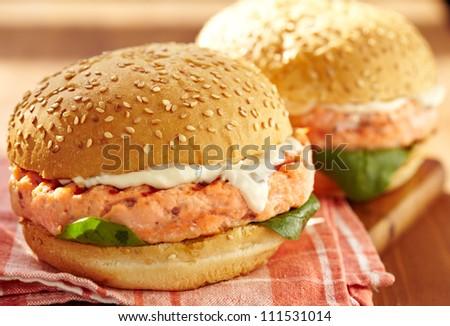 Salmon burger - stock photo