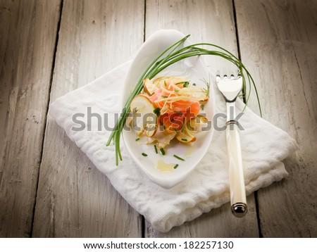 salmon carpaccio with slice ovum mushroom salad - stock photo