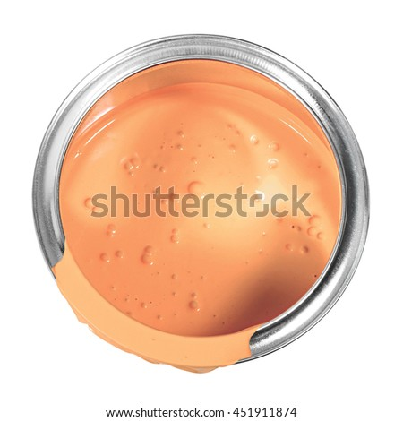 Salmon color paint can isolated on a white background.