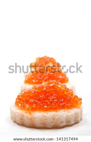 salmon eggs on toast