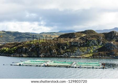 salmon farm, Loch a Chairn Bhain, Highlands, Scotland - stock photo