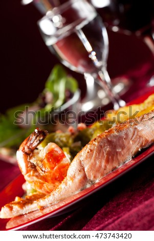 salmon filet with red pepper corns and brussel sprouts