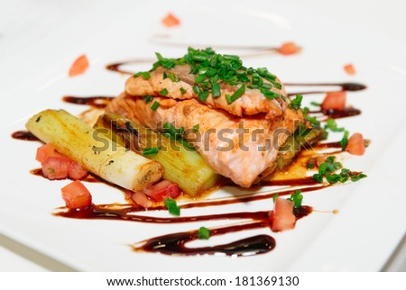 Salmon fillet with chicory and leek on plate - stock photo