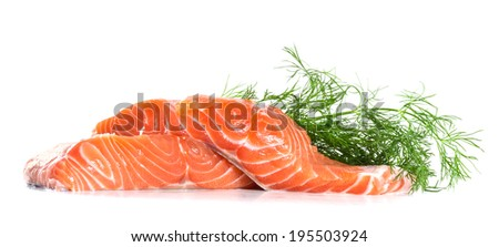 Salmon fillet with dill - stock photo