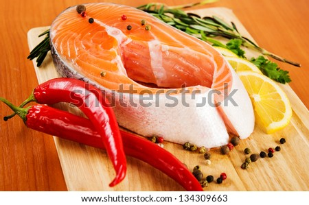 Salmon fillet with rosemary and lemon
