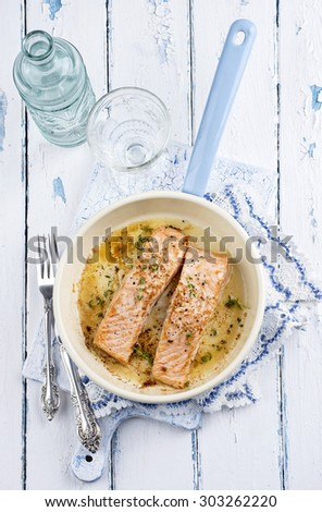 salmon fillets - stock photo
