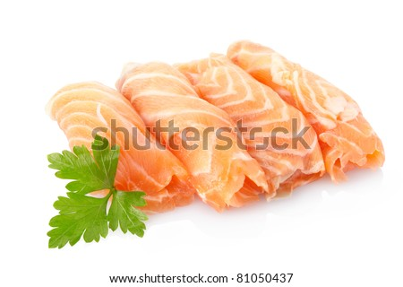Salmon fish isolated on white background, clipping path included - stock photo