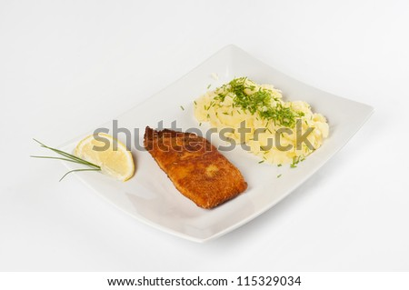 Salmon fish with potatoes - stock photo
