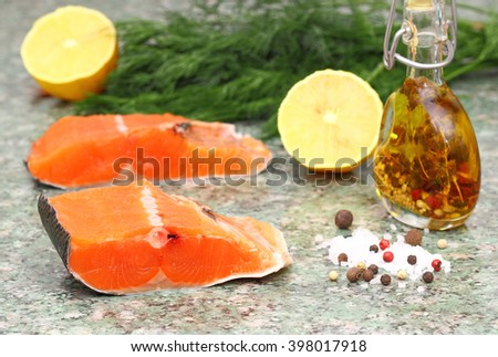 Salmon. Fresh Raw Salmon Red Fish Steak - stock photo