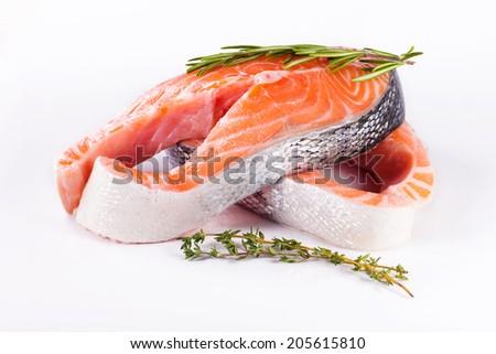 Salmon. Fresh Raw Salmon Steak isolated on a White Background - stock photo