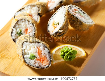 Salmon Fried Maki Sushi - Hot Roll with Fresh Salmon, Cream Cheese and Cucumber inside