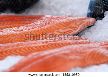 Salmon from Norway at Bergen market, Norway. - stock photo