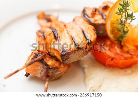 salmon kebab - stock photo