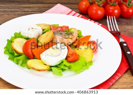 Salmon, Lettuce, Tomato and Sweet Pepper with Egg Studio Photo
