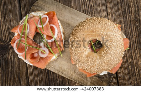 Salmon on a Bagel (selective focus; detailed close-up shot)