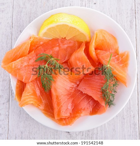 salmon on plate - stock photo